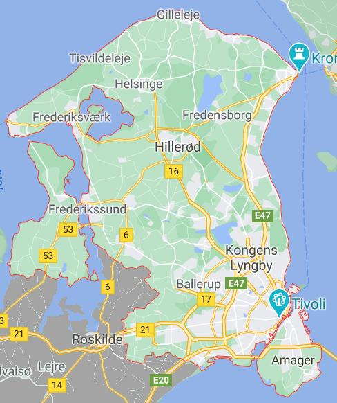 Kort over region hovedstadeb