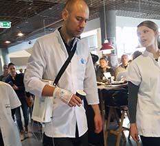 Patient med mekanisk droppumpe