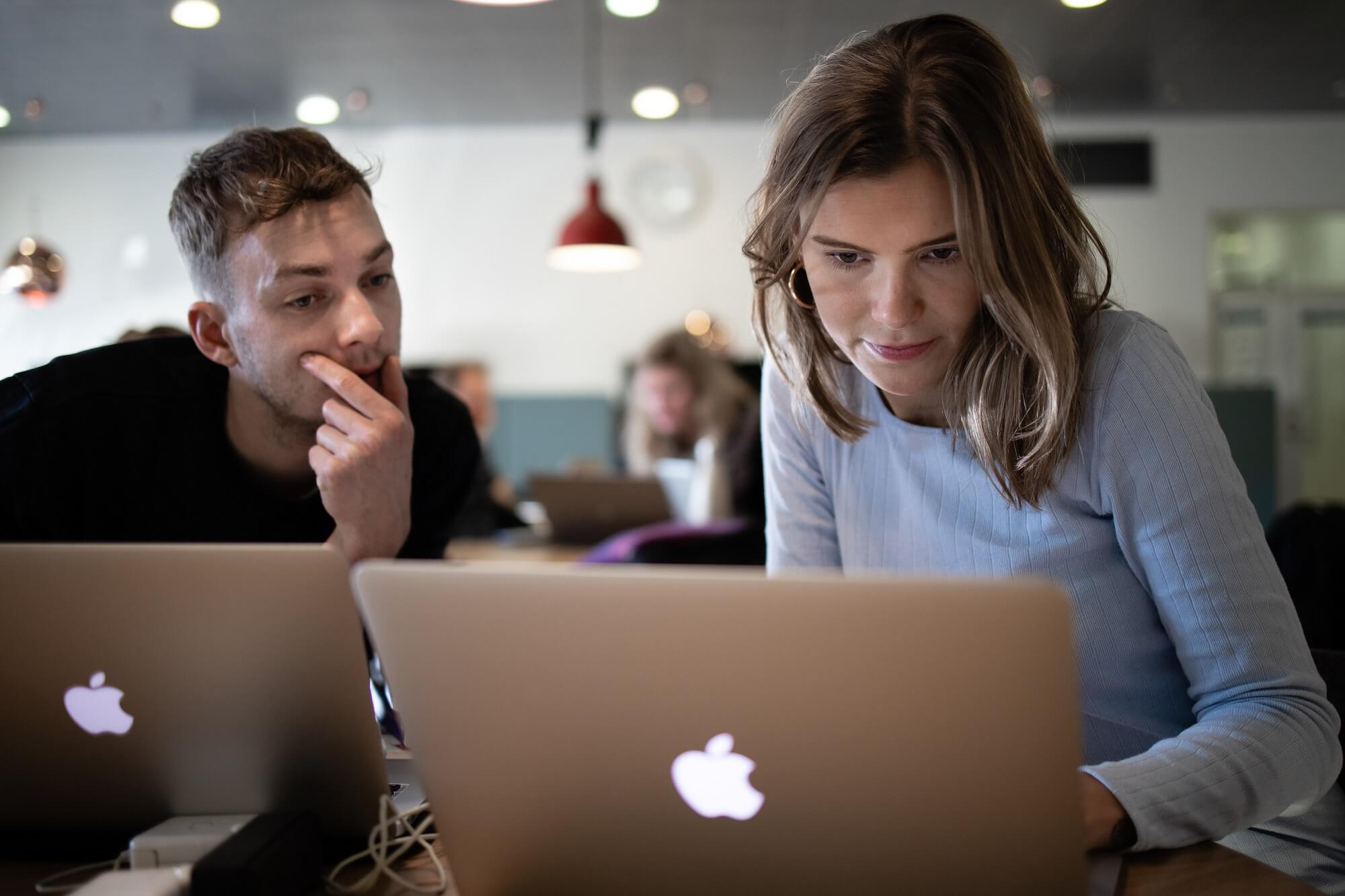 To lærerstuderende arbejder ved deres computere sammen